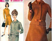 Simplicity 6178 Designer Fashion Woman's Suit, Jacket, Pencil Skirt Flared Skirt Jackie O. Style Sewing Pattern Size 12 Vintage 1960's