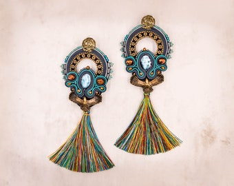 Extraordinary soutache earrings, eagle earrings, long earrings, Boho