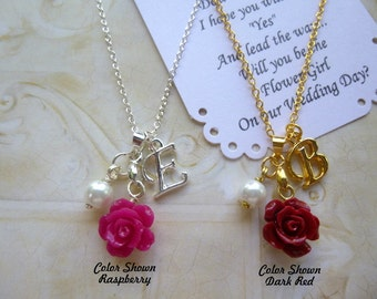 Personalized Flower Girl Necklace, Personalized Bridesmaid Necklace, Personalized Bridesmaid Jewelry, Children's Personalized Jewelry