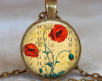 Antique Poppy pendant, poppy necklace, poppy jewelry, remembrance pendant, poppy jewellery poppy keychain key chain key fob