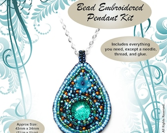 "Bead Embroidered Pendant ""Seashore"" BEAD KIT - Suitable for complete beginners"
