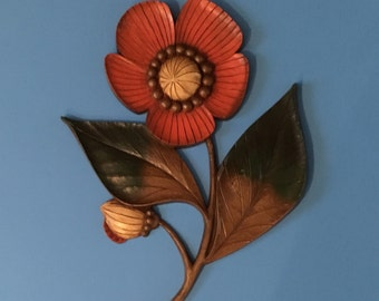 Vintage Large Flower Plaque Wall Art in Orange, Gold, Brown, Green and Butterscotch 1970 Retro Decor