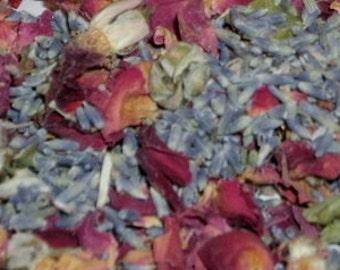 Bulk Dried Red Roses/ rose Petals/Buds & Lavender Buds dried flowers Potpourri 1/4 LB