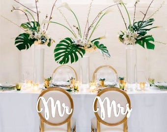 GOLD Mr Mrs chair signs. Wedding chair signs. Gold or silver