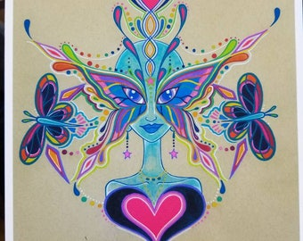 Rainbow Warrior Butterfly Star Fairy Blue Goddess Watercolor Psychedelic Visionary Art Print