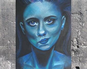 Hmm (aka blue lady) ART PRINT by M. Hutt / A3