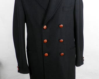 New Old Stock Men's Charcoal Wool Coat Overcoat by Nautica 350.00 Size Large 42 NOS