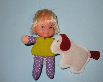 "Vintage 1975 Mattel Honey Hill Bunch ""Lil Kid"" Doll with Dog"