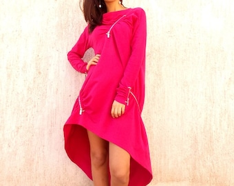Plus Size Dress, Plus Size Pink Dress, Pink Sweatshirt, Pink Maxi Dress, Sweatshirt Dress, Sweatshirt Fuchsia Dress TDK35 by TEYXO