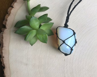 Opalite Healing Crystal Necklace - Black Light Hemp Necklace - Opalite Jewelry - Crystal Pendant - Boho Style Crystal  - Hippie Festival