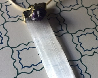 Selenite Slab with Amethyst necklace