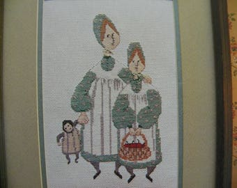 P Buckley Moss Cross Stitch Pattern - Sisters - June Grigg designs Inc. - Leaflet 102