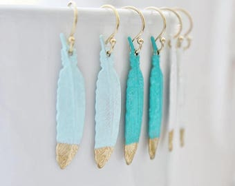 Long Feather Earrings, Turquoise Feather Earrings, Long Feather Earrings, Gold Feather Jewelry, White Feather Earrings, Mint Green Earrings