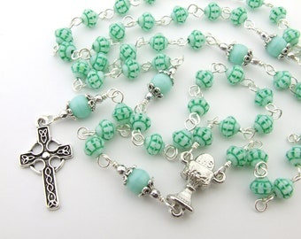 First Communion Rosary Beads - Chalice Center & Celtic Cross Mint Five Decade Rosary Personalized Name Rosary Catholic First Communion Gift