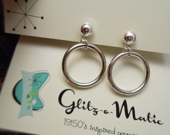 1950s bad girl style silver hoops earclips clip earrings clip-ons clip ons glitzomatic