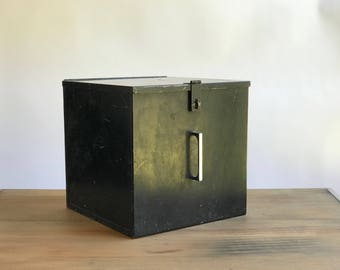 Large Black Metal File Box / Black Metal Box / Black Storage Box