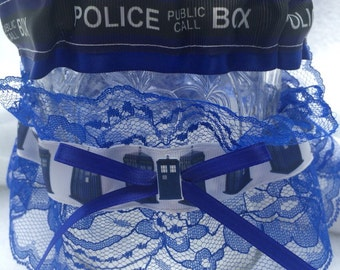 Tardis Doctor Who Wedding Garter Geek Nerd