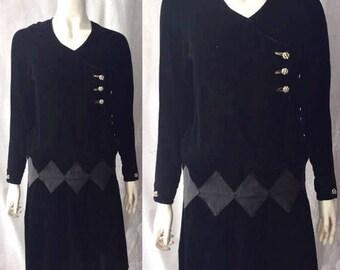1920s silk velvet harlequin check dress