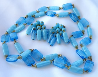 Vintage Bead Necklace Earrings Set Turquoise Blue Art Glass Beads Retro Jewelry