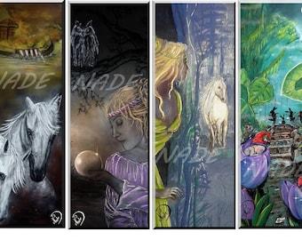 """Set of 4 bookmarks illustration """"artist NADE"""" legend"""