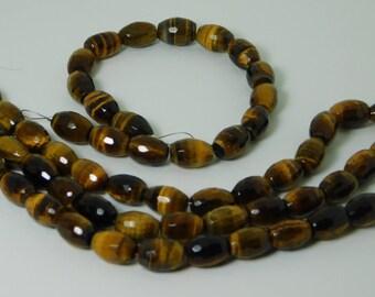Tiger Eye natural faceted barrel shape bead - 9mm x 12mm - STK-26-TEB-04