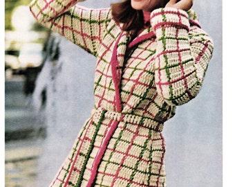 Crochet Plaid Shortcoat Coat Pattern