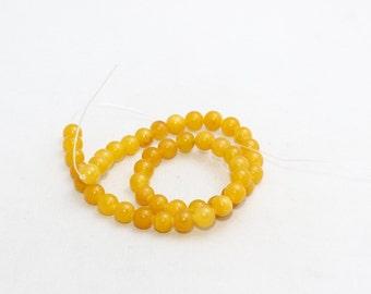 8mm Round Beads, Full Strand , natural stone beads, Round Jade Beads, Jade , Semi Precious , Honey Colored Beads, LAL24
