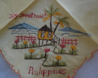 Vintage WWII Sweetheart Philippines Hankie, To My Sweetheart Hankie, To My Sweetheart Handkerchief, Stitched Flowers Beach Hankie, Unused