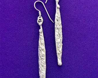 Handcrafted  Dangle Earrings - Long and Skinny Silver Earrings - Slender Silver Earrings - Textured Long Earrings - Ling Dangle