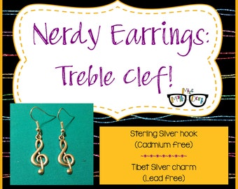 Treble clef earrings | Music Earrings | Treble Clef | Music jewelry | Band Geek | Band Geek gift  Music Gift | Music Teacher | Teacher gift