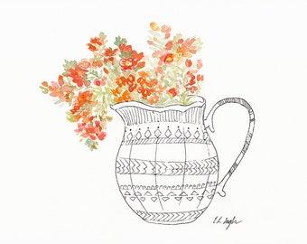 Boho Painting, Orange Wildflowers, original watercolor painting, floral decor, boho decor, wall art, original illustration, wildflowers art