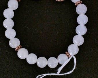 White Jade, Bronze and Copper Stretch Bracelets
