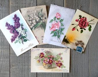 Set of 5 Vintage Flowers postcards.