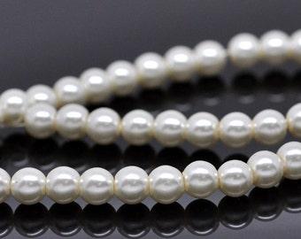6mm Ivory Glass Pearl Imitation Round Beads - 32 inch strand