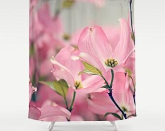 Fabric Shower Curtain  - Pink Dogwood Flower, Nature Photography, bathroom, home, decor, RDelean