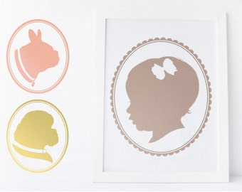 CUSTOM CAMEO SILHOUETTE / profile portrait for baby, child / children, pet, sibling, grandparent / mother's day gift