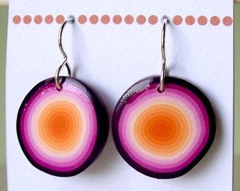 Earrings - Orange, pink and purple