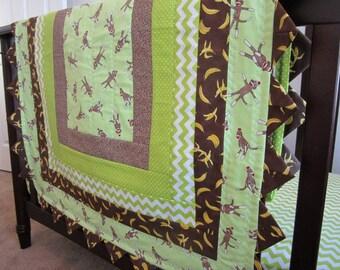 Lime Green Sock Monkey Crib Quilt