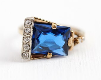 Vintage Buckle Ring - 10k Rosy Yellow Gold Created Blue Spinel & Genuine Diamond Statement - Size 4 3/4 Dark Blue Stone Unique Fine Jewelry