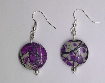 Purple & Black Splattered Earrings, Purple Dangle Earrings, Handmade, Great gift for all ages and occasions!
