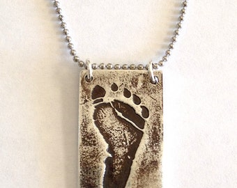 New Father Gift - Father's Day - Baby footprint necklace made from your child's Actual footprint Double sided, click to see back