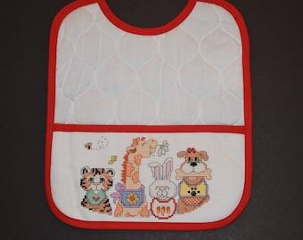 Cross Stitched Toddler Bib