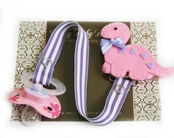 Pink Dinosaur Pacifier Clip- Great For Baby Infant Toddler (PD)