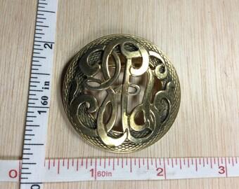 Vintage Pin Brooch Brass Color Knotwork Design Used