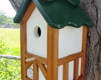 Wood birdhouse, unique nesting box, green roof, Tudor style, thatch roof look, cleanable,handcrafted in USA