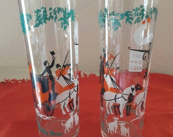 "Pair of 7"" The Arrival -The White Cock Cocktail Glasses"