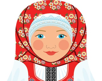 Czech Wall Art Print featuring culturally traditional dress drawn in a Russian matryoshka nesting doll shape