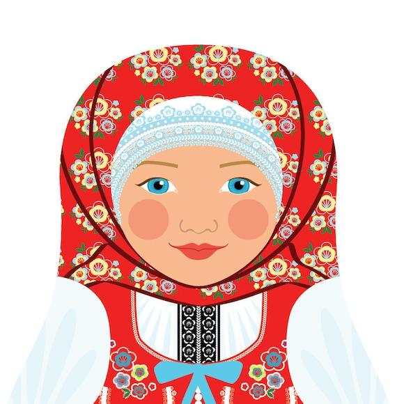Czech Doll Art Print with traditional folk dress, matryoshka