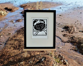 Crab. Seaside inspired limited edition linocut print