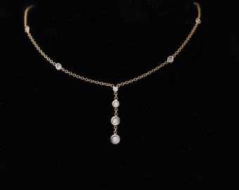 "14k, 16"" Yellow and White Gold Dangle Chain with 0.33 TCW Diamonds"